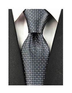 Men's Big Boys Dark Grey Silk Plain Cravat Ties Solid Extra Long Necktie Best Xmas Gift
