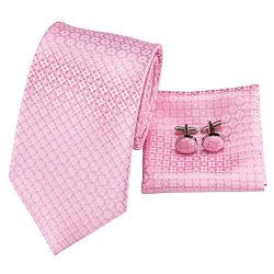 Hi-Tie Pink Tie Woven Silk Tie Pocket Square and Cufflinks Gift Box Set Mens Wedding Tie (Pink)