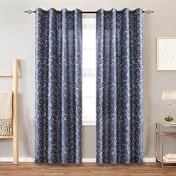 Faux Silk Swirl Embroidered Grommet Top Curtains for Bedroom 84 inches Long Embroidery Curtain f ...