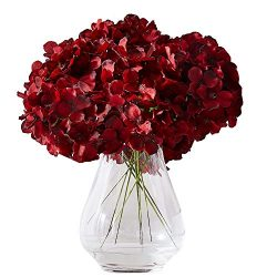 Kislohum Hydrangea Silk Flowers Heads with 10 Stems Burgundy Artificial Hydrangea Flower Head fo ...
