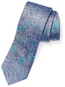 BUTTONED DOWN Men's Classic Silk 3″ Necktie, Teal/Blue Paisley, Regular