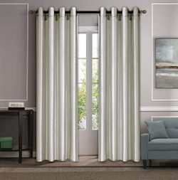Sapphire Home (2 Panels Grommet Faux Silk Satin Blackout Window Curtain Panels 84″ Long, I ...