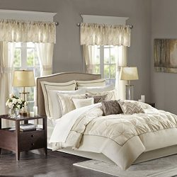 Madison Park Essentials Joella King Size Bed Comforter Set Room in A Bag – Ivory, Tufted W ...