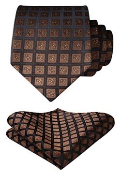 Enmain Check Jacquard Woven Men's Wedding Silk Tie Pocket Square Necktie Set Brown
