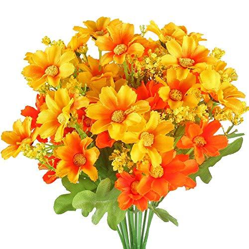 HO2NLE 4PCS Artificial Mini Daisy Flowers Bouquets 28 Heads Silk Arrangements Bridal Home DIY Ga ...