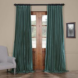 PDCH-KBS14BO-96-DW Blackout Extra Wide Vintage Faux Dupioni Curtain, Peacock, 100 x 96