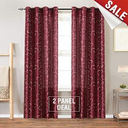 Swirl Embroidered Semi Sheer Curtains for Living Room 95 inches Long Embroidery Curtain Panels f ...