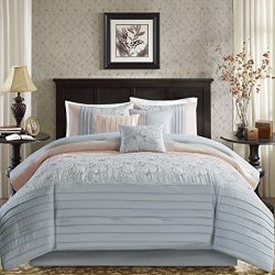 Madison Park Serene Comforter Reversible Solid Faux Silk Floral Flower Embroidered Pleated Strip ...