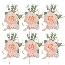 Pauwer Corsage Set of 6 Girl Bridesmaid Silk Rose Hand Flower Bracelet Wrist Corsage for Wedding ...