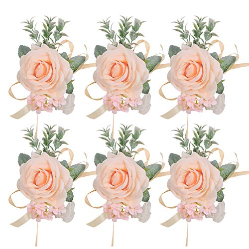 Pauwer Corsage Set of 6 Girl Bridesmaid Silk Rose Hand Flower Bracelet Wrist Corsage for Wedding ...