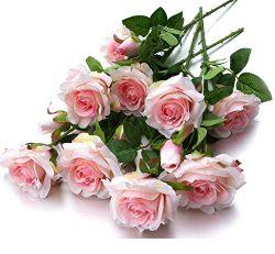 Mixed Blooms & Buds Silk Princess Rose Spays, 4PK Bundle, Faux Flower & Greenery Stems f ...