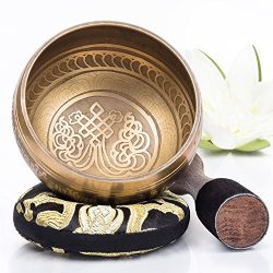 Silent Mind ~ Tibetan Singing Bowl Set ~ Bronze Mantra Design ~ With Dual Surface Mallet and Sil ...