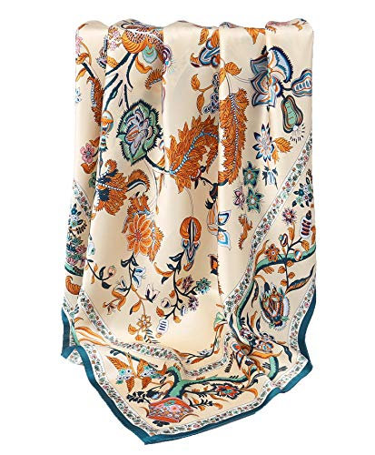 Grace Scarves 100% Silk Scarf, Extra-Large, Beanstalk, Creme with Teal Trim