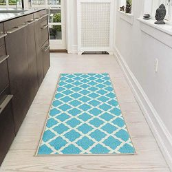 Silk Road Concepts SR-PNK7026-20X59 Collection Contemporary Rugs, 20″ x 59″, Blue