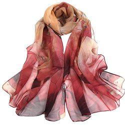Silk Scarf-Han Shi Fashion Women Vintage Lotus Print Long Soft Wrap Shawl Wrap (Red, L)