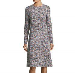 Tory Burch Women's Dress Floral Print Crew A-Line Silk