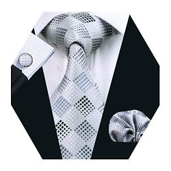 Barry.Wang Mens Silver Plaid Check Silk Necktie Set Formal Tie Pocket Square Cufflinks Set