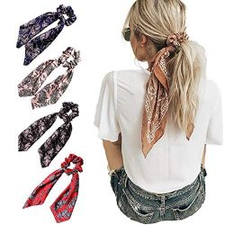 Beauty Wig World 4Pcs Floral Print Scarf Scrunchie Silk Satin Hair Scarves Elastic Hair Bands Bo ...
