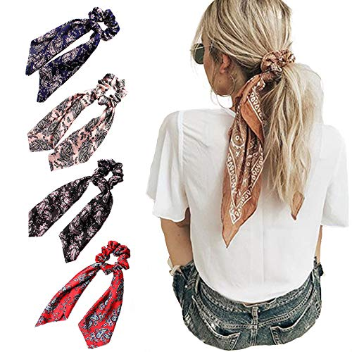 Beauty Wig World 4Pcs Floral Print Scarf Scrunchie Silk Satin Hair Scarves Elastic Hair Bands Bo ...