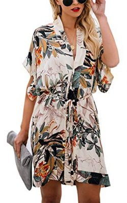 Shineya Women Casual V Neck Dress Batwing Short Sleeve T Shirt Dress Boho Floral Kimono Dress wi ...