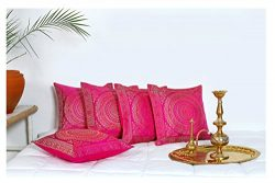 HANDICRAFT-PALACE Silk Brocade Square Cushion Cover Indian Traditional Handmade Banarasi Sofa De ...