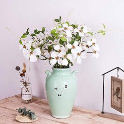 "4Pcs Artificial Flowers, FENGRUIL 27.5 "" Silk Dogwood Flowers Bouquet for Home Office Part ..."