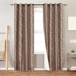 Lined Luxury Faux Silk Floral Embroidered Grommet Top Curtains for Bedroom Embroidery Curtain fo ...