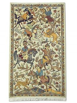 Traditional Persian Handmade Hunting Rug, Wool/Art. Silk (Approx. 50%), Cream, 3′ 1″ ...