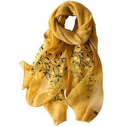 Alysee Women Soft Warm Silk&Wool Mixed Embroidered Scarf Shawl Headwrap Mustard Yellow