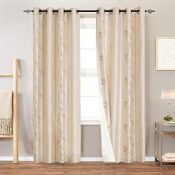 Lined Luxury Faux Silk Floral Embroidered Grommet Top Curtains for Bedroom 84 inches Long Embroi ...