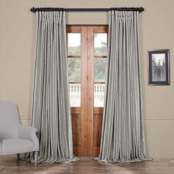 PDCH-KBS9BO-108-DW Blackout Extra Wide Vintage Faux Dupioni Curtain, Silver, 100 x 108