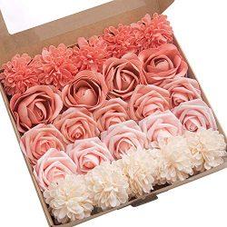Ling's moment Artificial Flowers Combo for DIY Wedding Bouquets Centerpieces Arrangements  ...