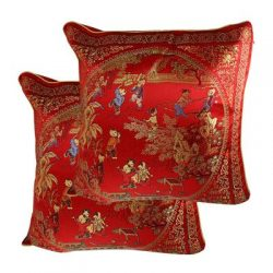 uxcell Courtyard Scene Pattern Embroidery Chinese Oriental Cushion Throw Toss Pillow Cover 2 Pcs