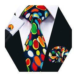 Barry.Wang Men Silk Tie Set Designer Abstract Art Necktie Pocket Square Cufflinks