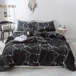 P&Q Duvet Cover Set Premium Soft Cotton Reversible Black Marble Bedding Set for Teen Boys Gi ...