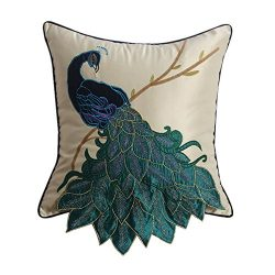FashionMall Fancy Vivid Embroidered Applique Peacock Faux Silk 18 x 18 Inches Decorative Throw P ...