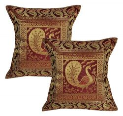 Lalhaveli Handmade Maroon Color Silk Cushion Covers 16 x 16 Inch Set of 2 Pecs
