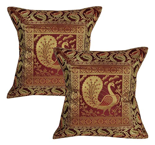 Lalhaveli Handmade Maroon Color Silk Cushion Covers 16 x 16 Inch Set of 2 Pecs