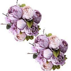 Fule 2 Pack Large Artificial Peony Silk Flower Bouquets Arrangement Wedding Centerpieces (New Pu ...