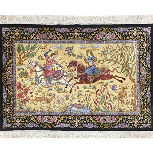 2.5'x4′ Hand Woven Persian Silk Rug Oriental Hunting Design Carpet Art Tapestry