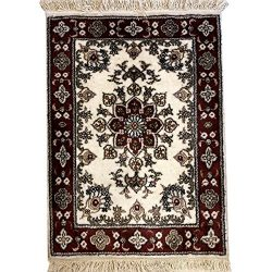 1.5'x2′ Red Handmade Persian Silk Rugs Oriental Tabriz Floral Carpet Mats