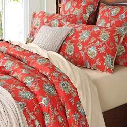 Softta Luxury Locke Red Floral Bedding Design Queen Size 3Pcs(1 Duvet Cover+ 2 Pillowcases Dama ...