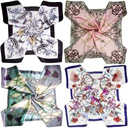 LilMents 4 Mixed Designs Large 35″ × 35″ Square Polyester Satin Neck Head Scarf Scar ...