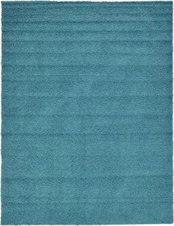 Unique Loom Solo Solid Shag Collection Modern Plush Deep Aqua Blue Area Rug (9′ 0 x 12R ...
