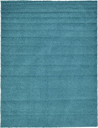 Unique Loom Solo Solid Shag Collection Modern Plush Deep Aqua Blue Area Rug (9′ 0 x 12R ...