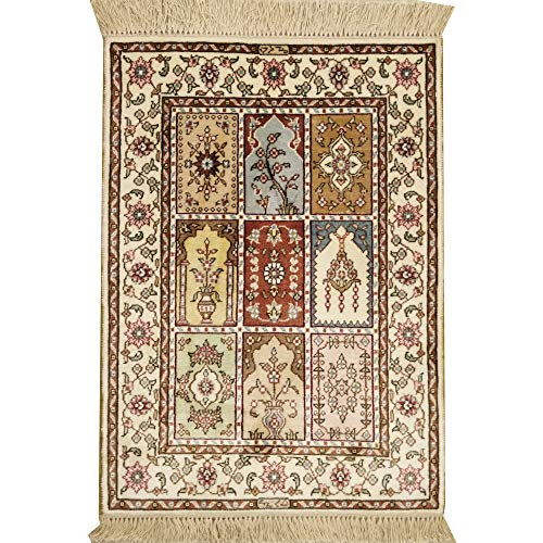 YILONG CARPET 1.5'x2′ Small Hand Knotted Turkish Silk Rug Classic Four Season Garden ...