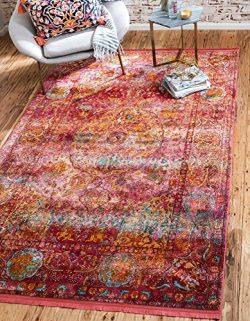 Unique Loom Baracoa Collection Bright Tones Vintage Traditional Red Area Rug (5′ 5 x 8R ...