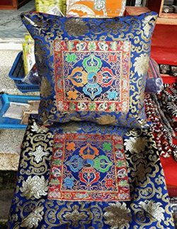 Tibetan Buddhist Blue Double Dorje silk brocade Cushion cover / Cross Vajra pillow cases / whole ...