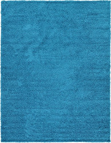 Unique Loom Solo Solid Shag Collection Modern Plush Turquoise Area Rug (9′ 0 x 12′ 0)