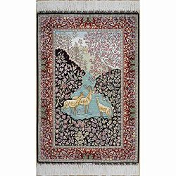 Yilong 2'x3′ Handmade Silk Rug Oriental Persian Tapestry Animals Hand Knotted Home W ...